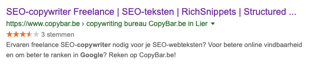 freelance seo copywriter rich snippets - structured data - CopyBar.be