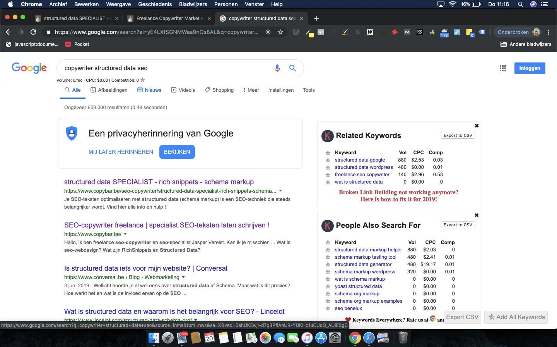 CopyBar.be scoort Google rank #1 op zoekwoord copywriter structured data seo