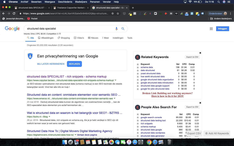 CopyBar.be scoort Google rank #1 op zoekwoord structured data specialist