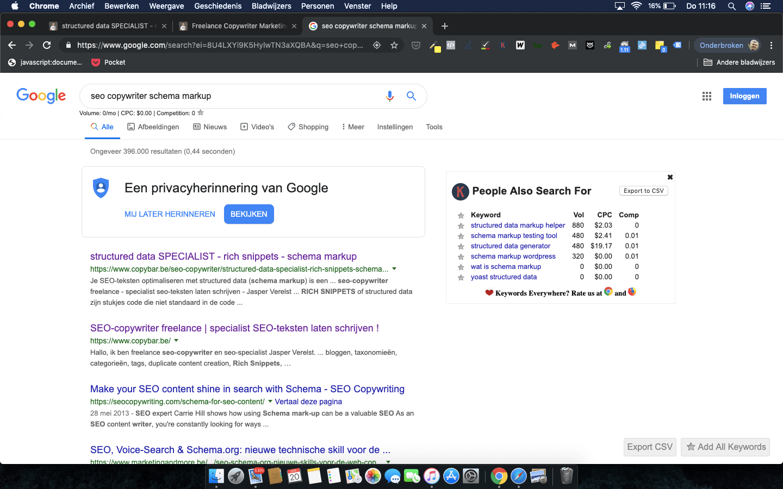CopyBar.be scoort Google rank #1 op zoekwoord seo copywriter schema markup
