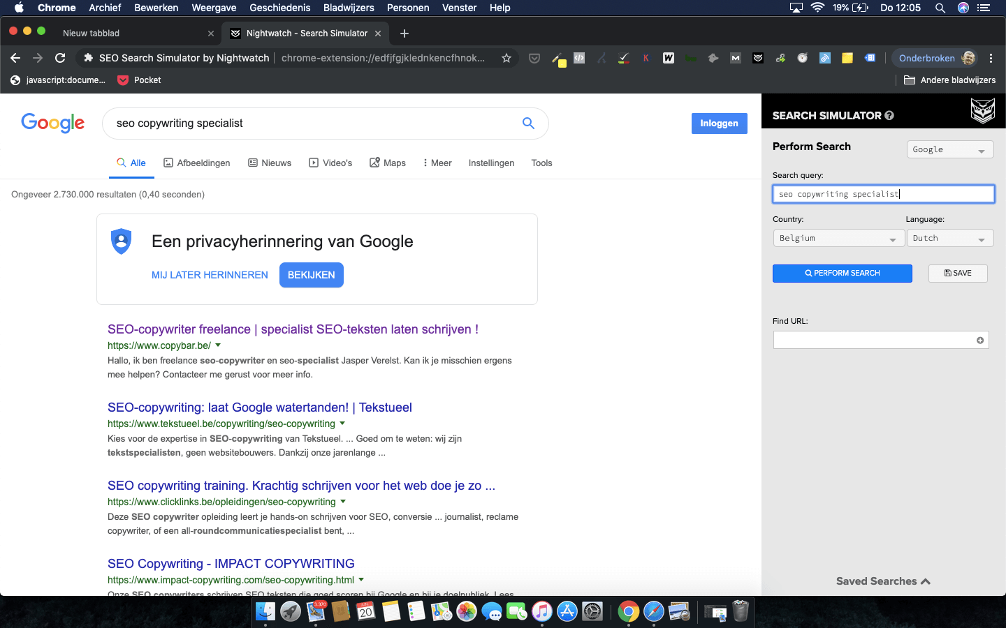 "CopyBar.be scoort Google ranking #1 op zoekwoord ""seo copywriting specialist"" - ook in Nightwatch Search Simulator"